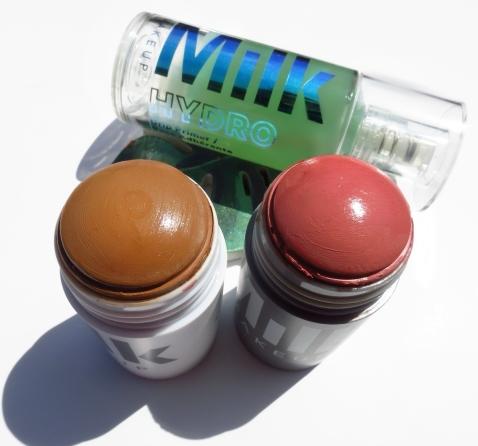 Milk Matte Bronzer in Baked; Milk Lip and Cheek in Werk; Milk Hydrogrip Primer